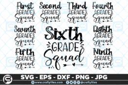 201 Back to school all Grade Squad 5 4D The Mega Bundle! Back To School Bundle SVG, Exclusive Price