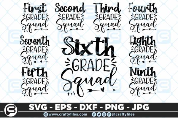 201 Back to school all Grade Squad 5 4D The Mega Bundle! Back To School Bundle SVG, Exclusive Price