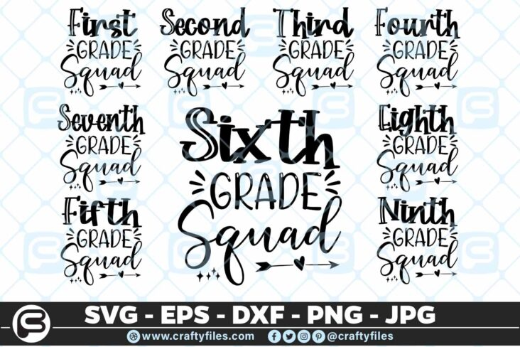 201 Back to school all Grade Squad 5 4D Back To School All Grade Squad Bundle SVG arrow PNG EPS DXF
