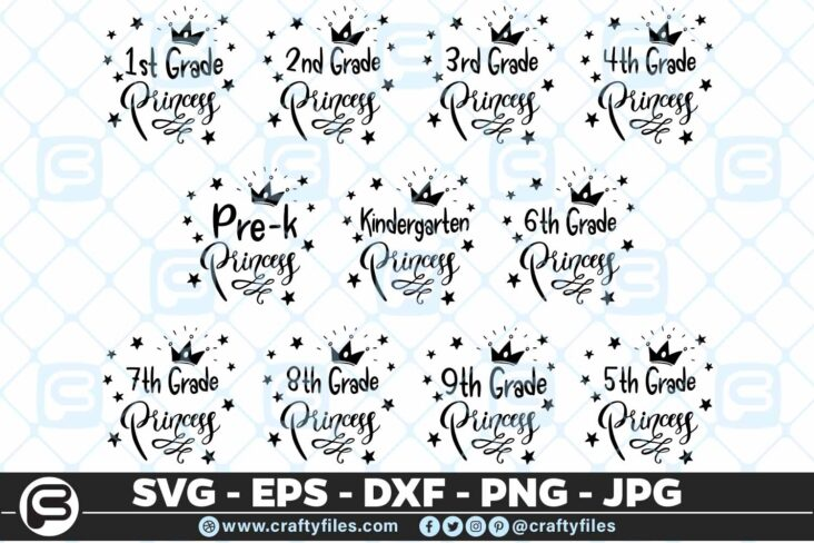 204 Back to school Grade Princess Crown 5 4D Back To School bundle of All Grade Princess Crown SVG PNG EPS DXF