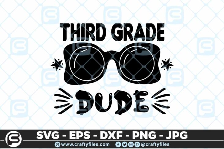 209 3 Back to school 3rd Grade Sunglasses Dude 5 4D Back to school SVG 3rd Grade Dude SVG Sunglasses SVG First Day At School