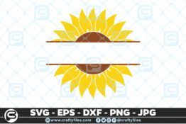 119 Sunflower yellow text in the midle 5 4D Bundle of Sunflower SVG Craft Design Floral SVG