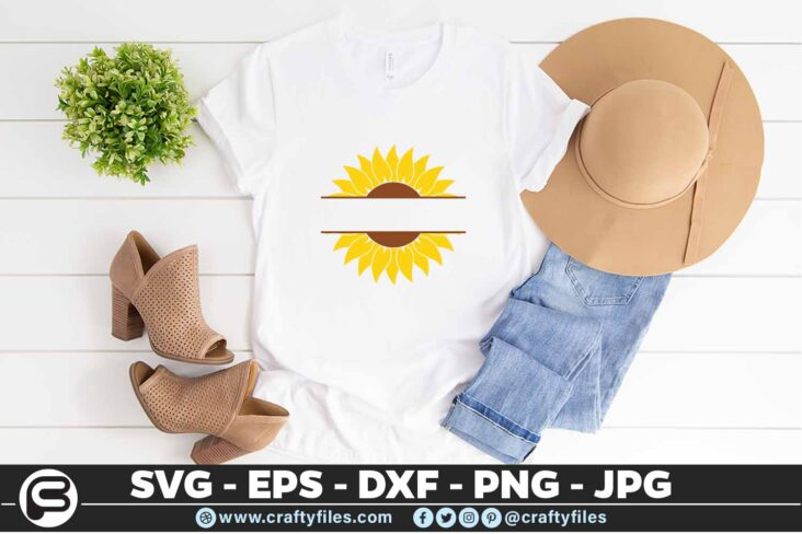 119 Sunflower yellow text in the midle 5 4T Flower SVG, Sunflower SVG Bundle Cutting Files For Cricut