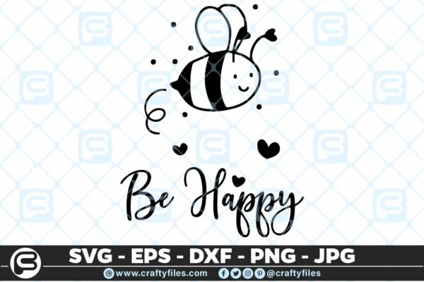 131 Bee Happy cute Bee insect 5 4D Be Happy Cute Bee Insect, Cutting file, SVG, PNG, EPS