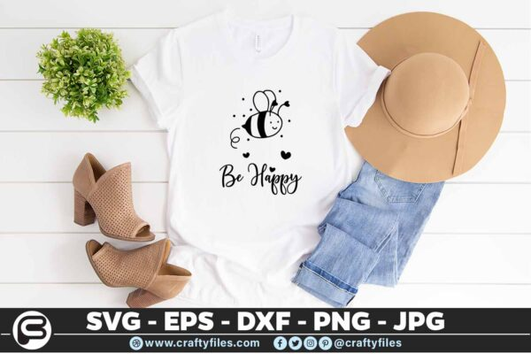 131 Bee Happy cute Bee insect 5 4T Be Happy Cute Bee Insect, Cutting file, SVG, PNG, EPS