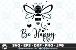 132 Bee Happy cute Bee insect 5 4D Bundle of Bee SVG Happy Bee and Bee Kind SVG EPS