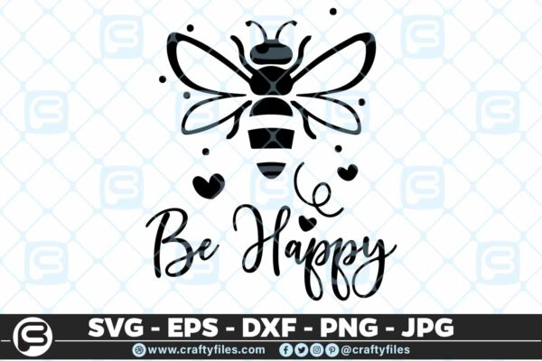 132 Bee Happy cute Bee insect 5 4D Be Happy Bee Insect, Cutting file, SVG, PNG, EPS