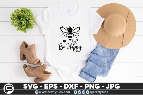 132 Bee Happy cute Bee insect 5 4T Be Happy Bee Insect, Cutting file, SVG, PNG, EPS