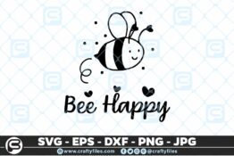 133 Bee Happy cute Bee insect 5 4D Bundle of Bee SVG Happy Bee and Bee Kind SVG EPS