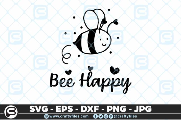 133 Bee Happy cute Bee insect 5 4D Be Happy Cute Bee Insect, Cutting file, SVG, PNG, EPS