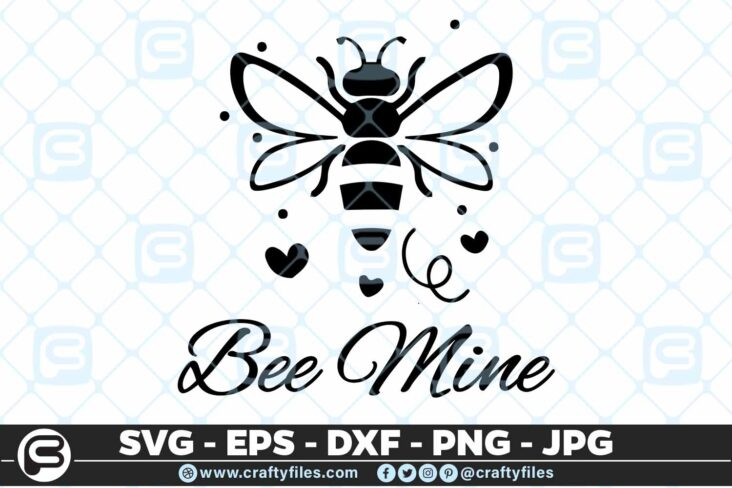 134 Bee Mine Happy bee 5 4D Be Mine Cute Bee Insect, Cutting file, SVG, PNG, EPS