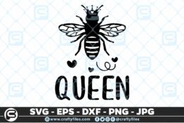 135 Bee Queen 5 4D Bundle of Bee SVG Happy Bee and Bee Kind SVG EPS