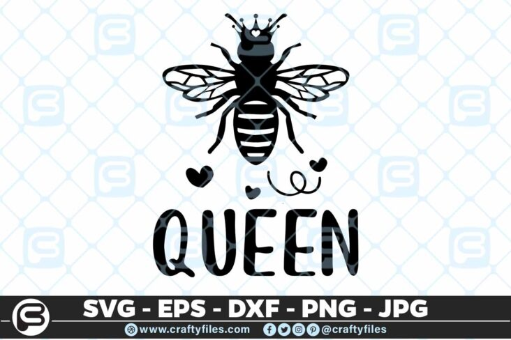 135 Bee Queen 5 4D Bee Queen Insect with a throne, Cutting file, SVG, PNG, EPS