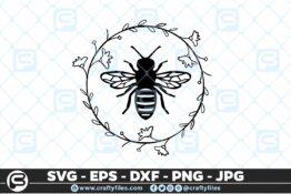 138 Bee Arounded by laurel floral 5 4D Bundle of Bee SVG Happy Bee and Bee Kind SVG EPS