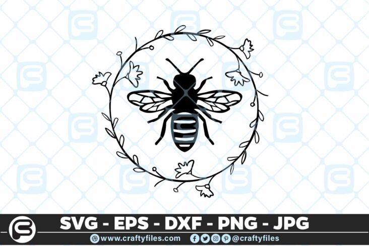 138 Bee Arounded by laurel floral 5 4D Bee Arounded By Laurel Floral Insect, Cutting file, SVG, PNG, EPS