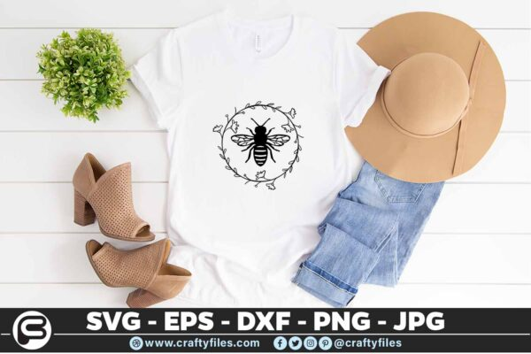 138 Bee Arounded by laurel floral 5 4T Bee Arounded By Laurel Floral Insect, Cutting file, SVG, PNG, EPS