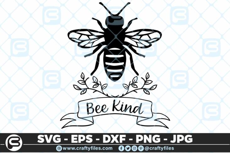 139 bee kind 5 4D Be Kind Bee Insect, Cutting file, SVG, PNG, EPS For Cricut, silhouette