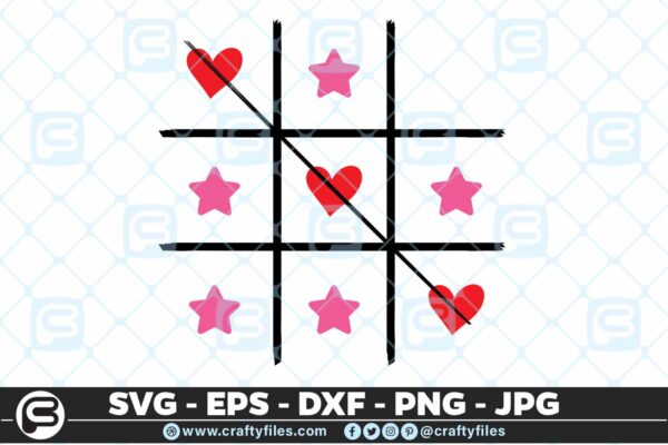 141 Game Toe o x game with hearts and stars 5 4D Toe O/X Game  OX Game With Hearts And Stars Cutting file, SVG