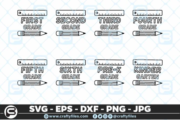 206 Back to school Grade Pen and ruler 5 4D Bundle school Grade SVG Back To school SVG Pen and ruler SVG EPS DXF