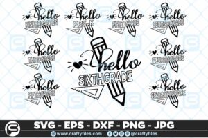 208 Back to school Hello Grade school 5 4D The Mega Bundle! Back To School Bundle SVG, Exclusive Price