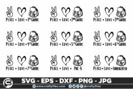 224 peace love school grade bag 5 4T Bundles