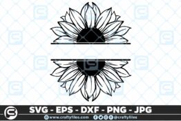 242 Sunflower monogram 3 2D Bundle of Sunflower SVG Craft Design Floral SVG