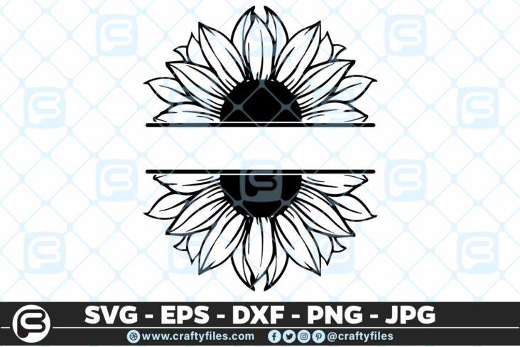 242 Sunflower monogram 3 2D SUNFLOWER SVG MONOGRAM SVG, PNG, EPS & DXF