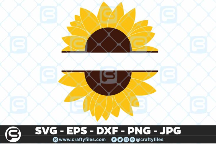 245 Sunflower Monogram 3 2D SUNFLOWER SVG MONOGRAM SVG, PNG, EPS & DXF