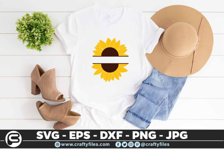 245 Sunflower Monogram 3 2T SUNFLOWER SVG MONOGRAM SVG, PNG, EPS & DXF