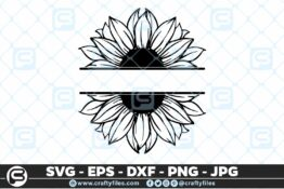 246 Sunflower Monogram 3 2D Bundle of Sunflower SVG Craft Design Floral SVG