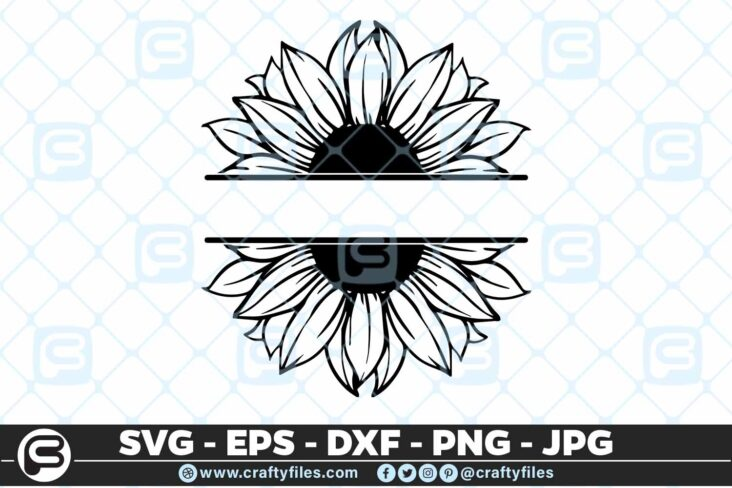 246 Sunflower Monogram 3 2D SUNFLOWER SVG MONOGRAM SVG, PNG, EPS & DXF