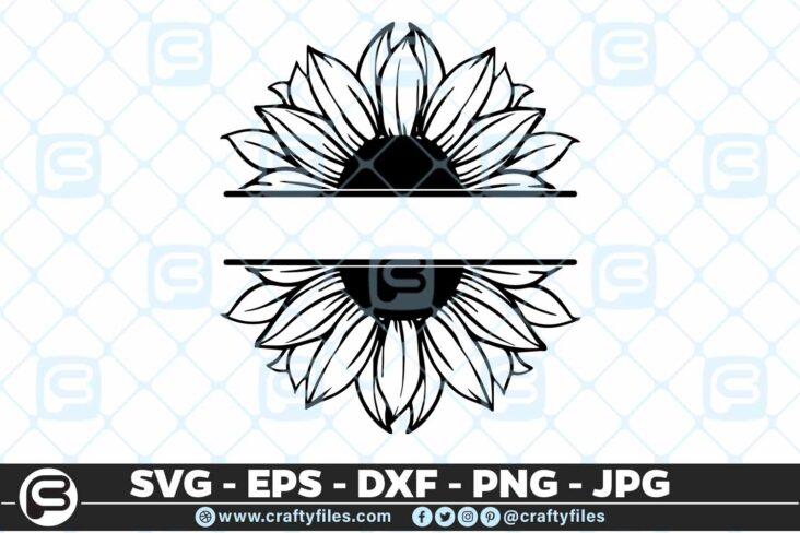 246 Sunflower Monogram 3 2D SUNFLOWER SVG MONOGRAM SVG, PNG, EPS & DXF