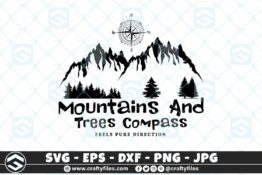 Moutains And Trees Compass Adventure Camping SVG Outdoor