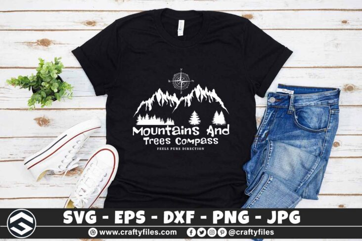 267 Moutains and trees compass adventure camping outdoor 3 2T Moutains And Trees Compass Adventure Camping SVG Outdoor