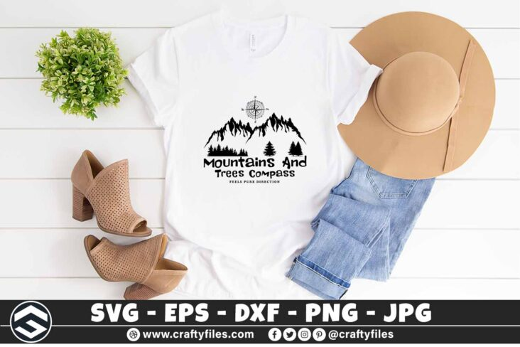 267 Moutains and trees compass adventure camping outdoor 3 2TW Moutains And Trees Compass Adventure Camping SVG Outdoor