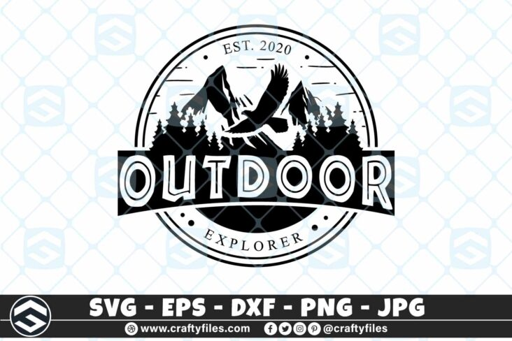274 Outdoor adventure mountain and trees eagle logo rounded 3 2D Outdoor SVG Adventure Mountain And Trees Eagle