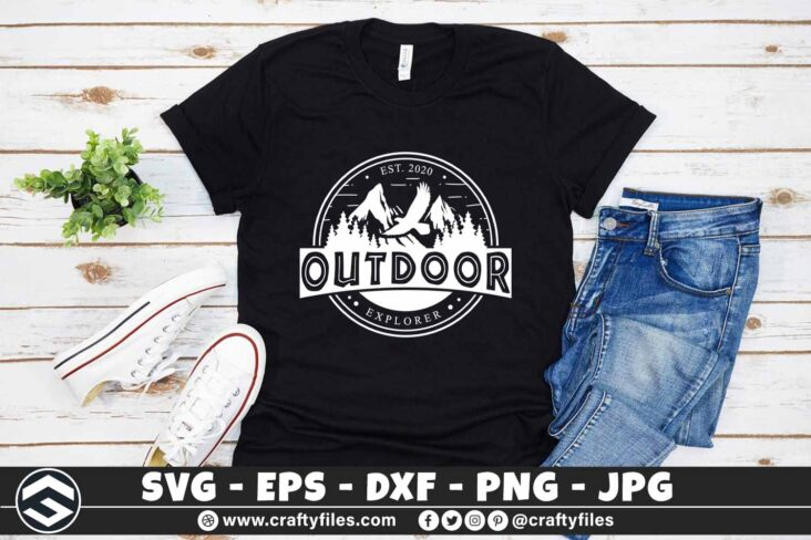 274 Outdoor adventure mountain and trees eagle logo rounded 3 2T Outdoor SVG Adventure Mountain And Trees Eagle