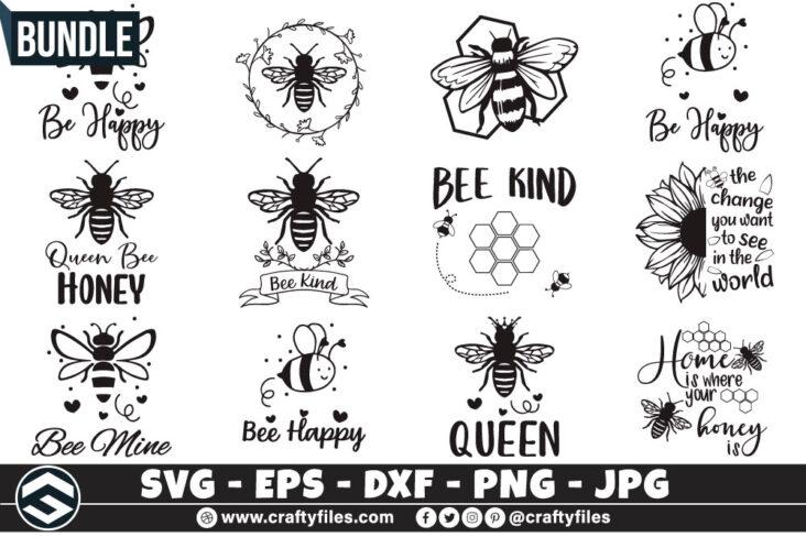 278 Bee Bundle Bundle of Bee SVG Happy Bee and Bee Kind SVG EPS