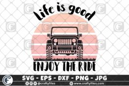 279 Jeep Car Enjoy the ride life is good vintage sunset 3 2D Crafty Files | Home