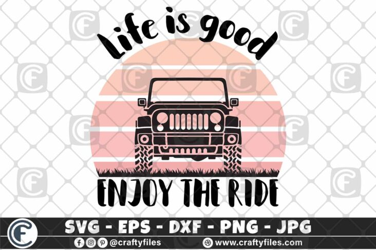 279 Jeep Car Enjoy the ride life is good vintage sunset 3 2D Jeep Car SVG Enjoy The Ride PNG Life Is Good SVG Vintage Sunset SVG