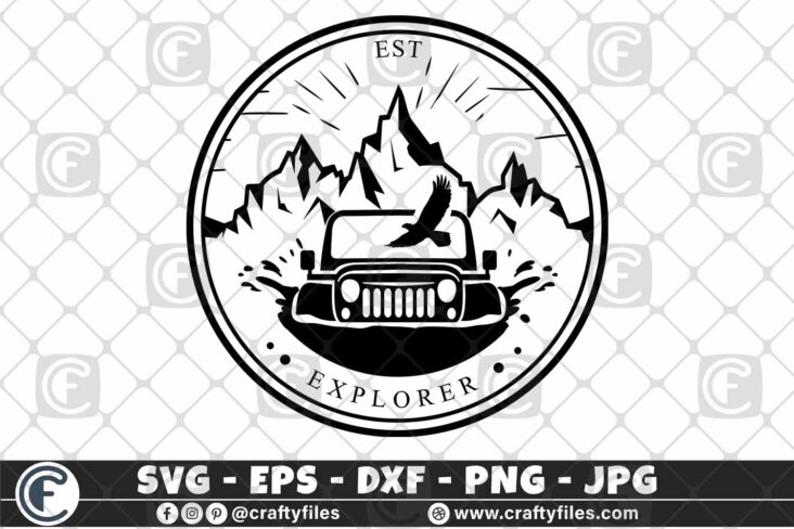 292 EST EXPLOLERER JEEP CAR EAGLE OUTDOOR 3 2D Jeep SVG Jeep Life SVG Jeep Car SVG Outdoor SVG PNG Mountain SVG DXF