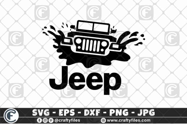 382 Jeep Car in water 3 2D Jeep Car SVG Dirty Jeep Car SVG Outdoor SVG PNG Mountain SVG DXF