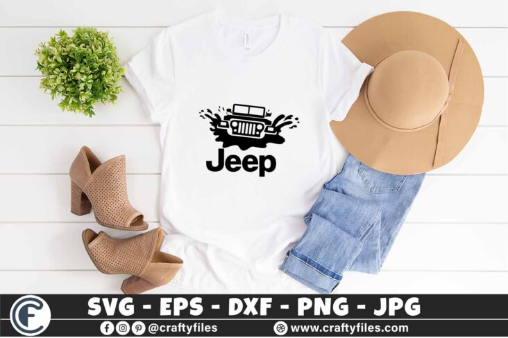 382 Jeep Car in water 3 2T Jeep Car SVG Dirty Jeep Car SVG Outdoor SVG PNG Mountain SVG DXF