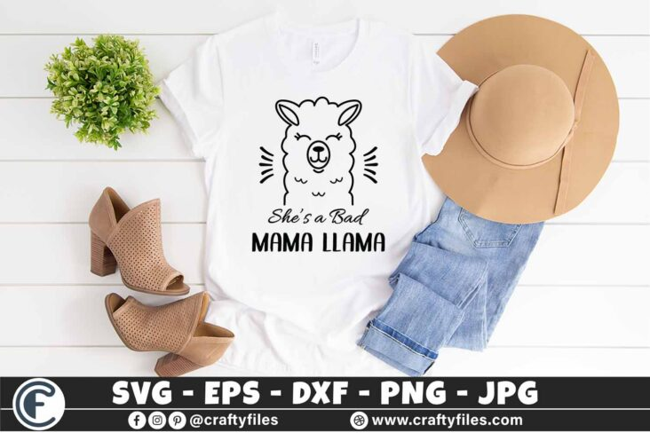 310 she is a bad mama llama 3 2T She Is a Bad Mama Llama SVG DXF PNG Llama PNG Cute Llama